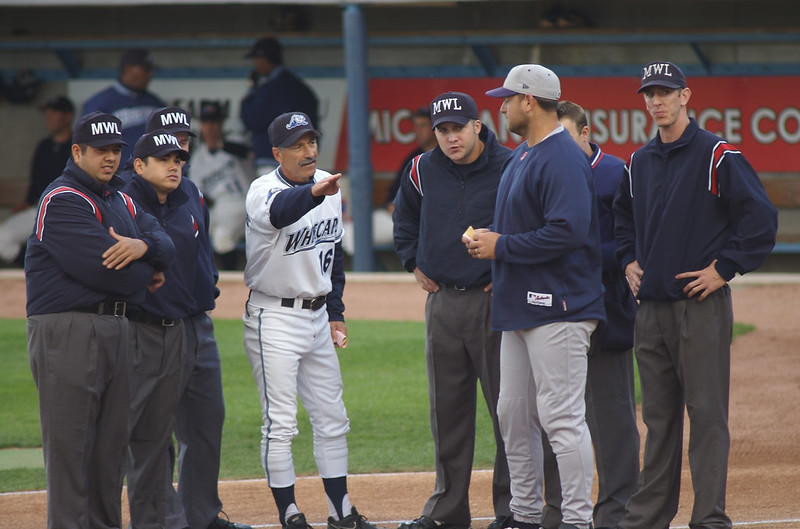 Coaches and umpires discussing the baseball ground rules.