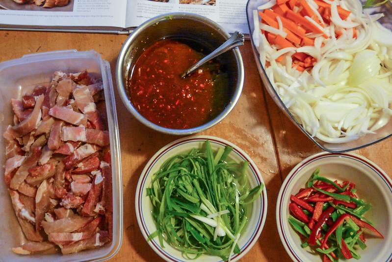 Korean Spicy Pork - prepped ingredients