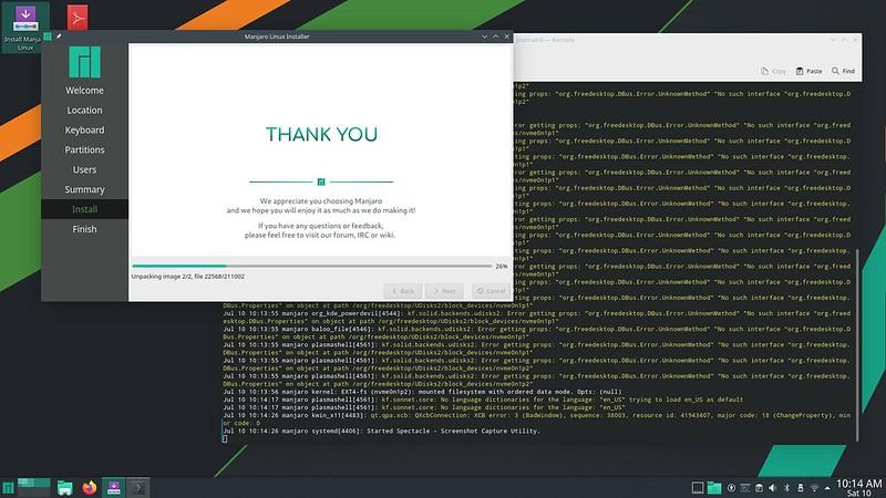 Screenshot whie installing Manjaro 21.0.7 KDE.