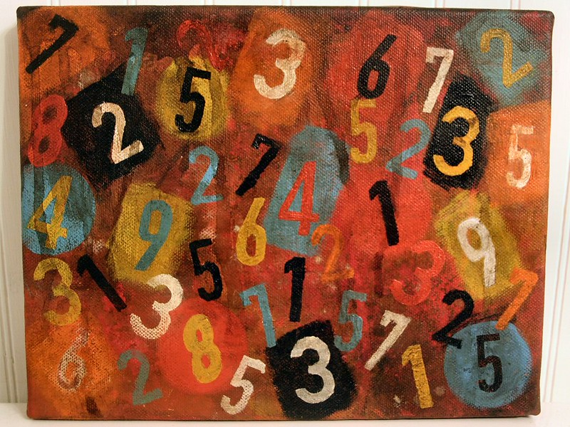 Acrylics on canvas painting with single digit numbers with a colorful background.
