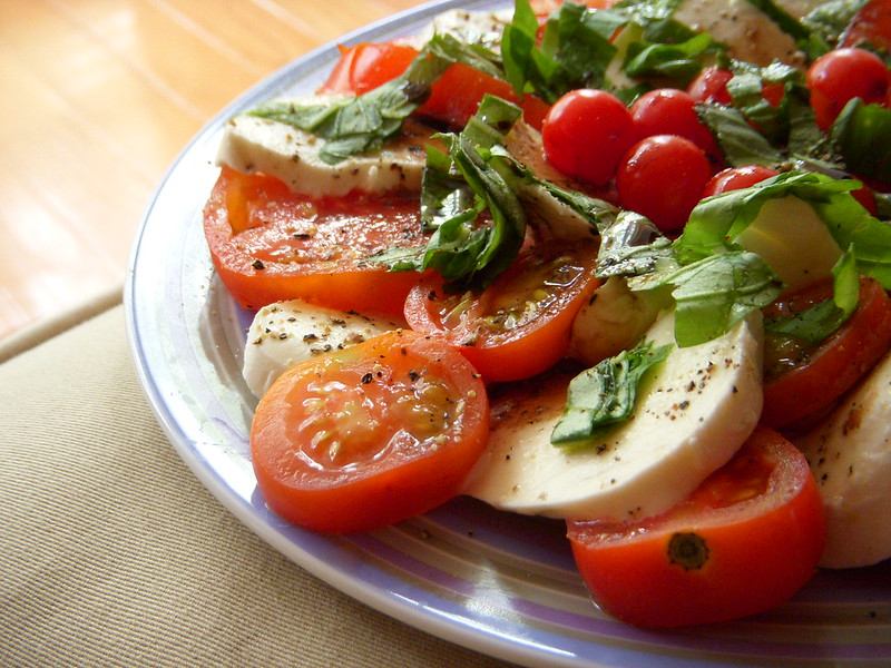A view of a plated classic Caprese Salad.