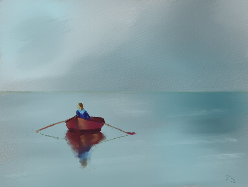 Watercolour painting of a lone rowboat with a single passenger with oars out on the water.