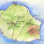 une aquarelle d'iZa pour se situer sur la Réunion
