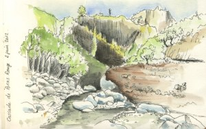 Une aquarelle d'Iza à la cascade de Bras Rouge