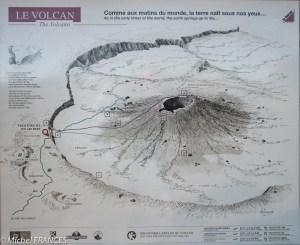 Le panneau d'information sur l'enclos du volcan