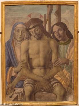 Pittore Fiorentino : Christ en piété avec la Vierge et Saint-Jean (vers 1490)
