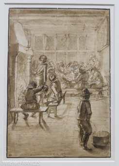 Theodor Matham - Hommes réunis près d'une cheminée et joueurs de cartes - 1619 - Plume et encre brune, lavis brun Redécouvertes à l'occasion de cette exposition, les deux feuilles de la collection Saint-Morys sont les premiers dessins connus de Theodor Matham, qu'il exécuta à l'âge de treize ans. L'artiste suit l'enseignement de son père Jacob, qui fut l'élève de Goltzius. Ce dessin s'apparente à une feuille signée deTheodor Matham qui représente également des Joueurs de cartes (autrefois à Brême). On y retrouve de semblables effets de clair-obscur et de contre-jour ainsi qu'une même attention portée à la description de la taverne.
