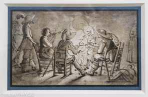GERARD II TER BORCH - Soldats se chauffant au feu - Plume et encre brune, lavis brun sur une esquisse à la pierre noire Contours incisés au stylet pour le transfert Gerard Il ter Borch se forme d'abord à Zwolle auprès de son père, Gerard l, jusqu'en 1632. Ses nombreux dessins de jeunesse - qui ont été religieusement conservés par son père - reflètent l'omniprésence de l'armée dans cette ville de garnison située à la frontière est des Pays-Bas. Exécutée autour de l'âge de treize ans, cette feuille représente un corps de garde, où des cavaliers fument et se réchauffent autour d'un feu. I'artiste maîtrise déjà les effets de clair-obscur et de contre-jour qu'il emploiera par la suite dans ses scènes nocturnes.