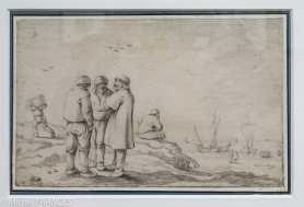 Esaias van de Velde - Marins au bord de la mer - 1628 - Pierre noire - A la fin des années 1620, Esaias van de Velde atteint le sommet de son œuvre dessiné avec une importante production de feuilles autonomes destinées au marché de l'art, à laquelle appartient ce dessin. Rarement traités par l'artiste, les paysages côtiers font partie des nouveaux sujets qu'il introduit après son installation à La Haye en 1618. Ce dessin, à la frontière entre le paysage et la scène de genre, témoigne de son intérêt pour cette dernière dans ses dessins datés de 1628 et de 1629.