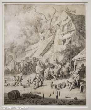 Cornelis Dusart - Joueurs de quilles - 1688 - Pierre noire et lavis gris sur velin. Derrière les joueurs de quille, on reconnaît les motifs traditionnels de la kermesse, hérités de Brueghel : danseurs autour du ménétrier, paysans attablés, couples d'amoureux ... Dusart se distingue de son maître Van Ostade par les silhouettes plus élancées et les attitudes plus outrancières de ses personnages .. Datée de 1688, cette feuille reprend fidèlement la composition d'un tableau de l'artiste peint trois ans plus tôt, Elle correspond manifestement à la commande d'un amateur qui souhaitait en conserver une réplique sur vélin,.