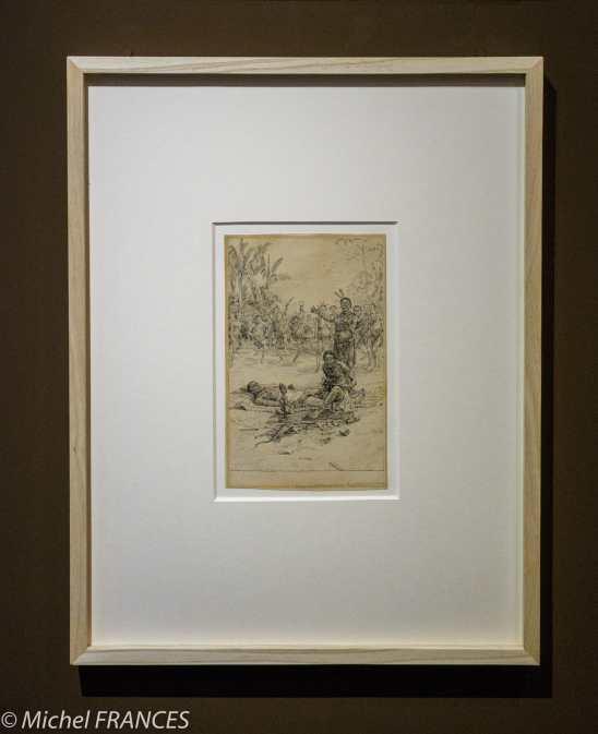 Musée du quai Branly - Peintures des lointains Paule Crampel - Scène de fétichisme pour la guérison d'un malade - vers 1890