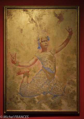Musée du quai Branly - Peintures des lointains - René Piot - Danseuse cambodgienne -1922 - Tempera et feuilles d'or sur bois