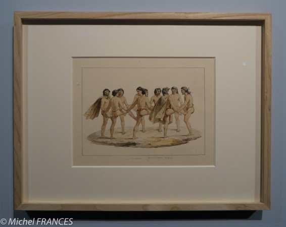 Musée du quai Branly - Peintures des lointains - Jacques Étienne Victor Arago - Danse des habitants des îles Carolines - 1817-1820