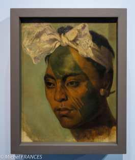 Musée du quai Branly - Peintures des lointains - Félix Marrant-Boissauveur - Homme marquisien tatoué - vers 1846
