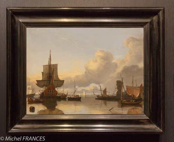 musée des beaux-arts de Montréal - Ludolf Backhuysen - Vaisseau de guerre hollandais et petits navires au mouillage à la Blauwe Hoofd - 1681
