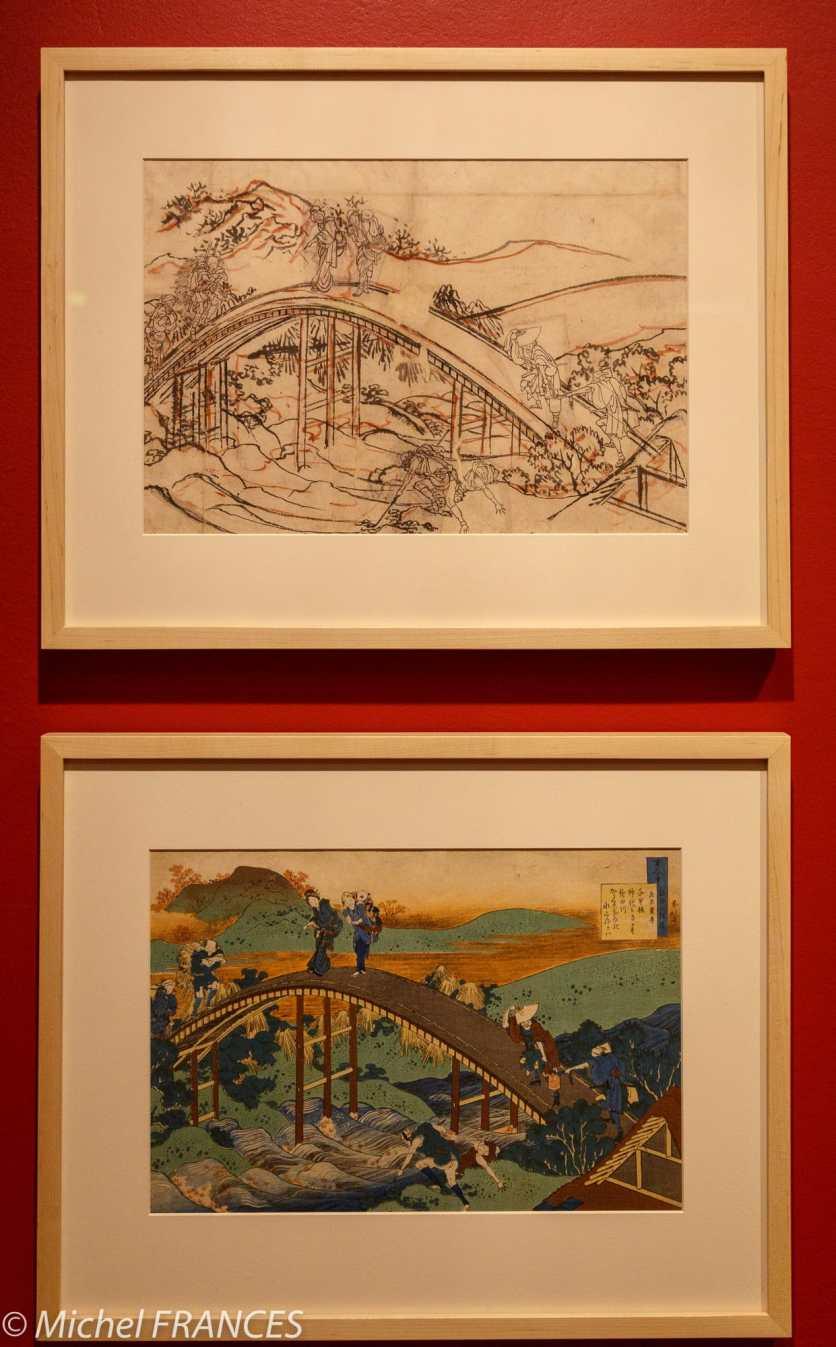 musée des beaux-arts de Montréal - Katsushika Hokusai - Personnages traversant un pont en arche - vers 1835-1836