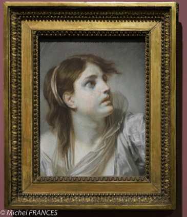 expo Pastels - Jean-Baptiste Greuze - Jeune fille exprimant de l'effroi