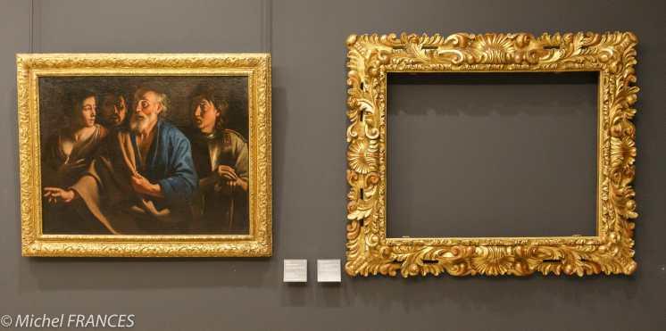 expo sur les cadres - Le reniement de saint Pierre - cadre de style Louis XIV - à droite le cadre original (Florence ?)