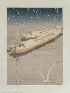 Kawabata Ryushi - Mouette dans la neige - 1916