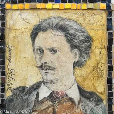 Georges Pilotell, caricaturiste et communard, sur le mur du jardin du Luxembourg.