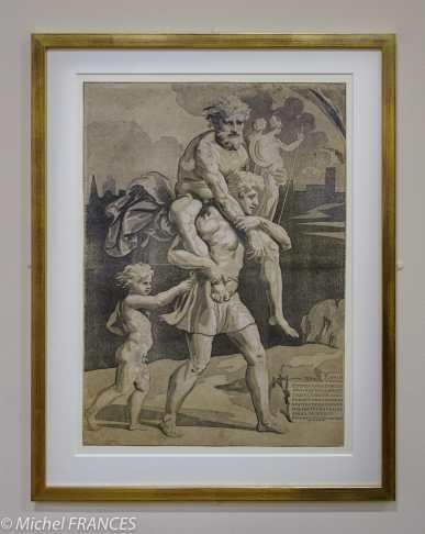 expo Gravure en clair-obscur - Ugo da Carpi - d'après Raphaël - Énée, Anchise et Ascagne fuyant la ville de Troie en flammes - 1518