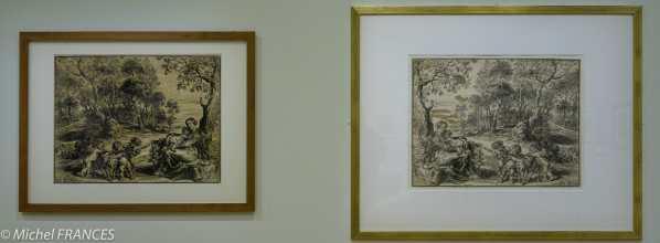 expo Gravure en clair-obscur - Christoffel Jegher d'après Pierre Paul Rubens - Le repos pendant la fuite en Égypte - à droite contre-épreuve retouchée à la gouache pour indiquer au graveur les modifications à apporter - vers 1633-1636