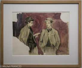 musée d'Orsay, exposition Picasso rose et bleu - La lecture de la lettre - 1899-1900 - fusain et peinture à essence sur papier