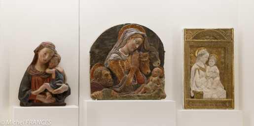 actualités du Louvre - d'après Lorenzo Ghiberti - La Vierge et l'Enfant - entourage de Donatello - La Nativité - d'après Antonio Rossellino - La Vierge et l'Enfant - stucs polychromés - 15ème siècle