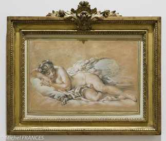 Fondation Custodia - expo 500 dessins musée Pouchkine - François Boucher - Jeune femme endormie - vers 1758-1760