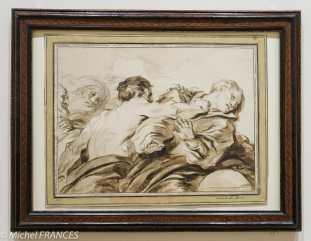 Fondation Custodia - expo 500 dessins musée Pouchkine - Jean-Honoré Fragonard - L'attaque - fin des années 1770