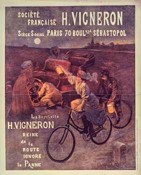 Titre : Société française H. Vigneron..., Paris 70 boulevard Sébastopol. La bicyclette H. Vigneron reine de la route ignore la panne. : [affiche] / L. Geisler sc. Auteur : Geisler, Louis (1852-1914). Illustrateur Éditeur : [s.n.][s.n.] Éditeur : Papier, gravure et imression L. Geisler, auxChatelles, par Raon-l'Etape (Vosges) & Paris, 22, rue de la Faisanderie (Raon-L'Etape) Date d'édition : 1907 Sujet : Bicyclettes Sujet : Loisirs Sujet : Cycles et motocycles Sujet : Transports et communications Type : image fixe Type : estampe Format : 1 est. : impression photomécanique, coul. ; 82 x 62 cm Format : image/jpeg Format : Nombre total de vues : 1 Description : Affiche Droits : domaine public Identifiant : ark:/12148/btv1b90091614 Source : Bibliothèque nationale de France, ENT DN-1 (GEISLER,L.)-FT6 Notice du catalogue : http://catalogue.bnf.fr/ark:/12148/cb402996502 Provenance : Bibliothèque nationale de France Date de mise en ligne : 09/05/2011
