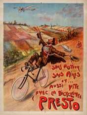 """Titre : Sans moteur, sans ailes et... aussi vite avec ; la bicyclette """"Presto"""" : [affiche] / [A. Forchey] Auteur : Forchey, A. (affichiste). Illustrateur Éditeur : [s.n.][s.n.] Date d'édition : 1890 Sujet : Bicyclettes -- Publicité Sujet : Cycles et motocycles Type : image fixe Type : estampe Langue : français Format : 1 est. : lithogr. en coul. ; 80 x 60 cm Format : image/jpeg Format : Nombre total de vues : 1 Description : Affiche Droits : domaine public Identifiant : ark:/12148/btv1b9012951m Source : Bibliothèque nationale de France, ENT DO-1 (FORCHEY,A.)-FT6 Notice du catalogue : http://catalogue.bnf.fr/ark:/12148/cb39837731h Provenance : Bibliothèque nationale de France Date de mise en ligne : 18/04/2011"""