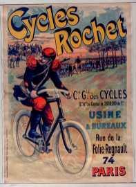 Titre : Cycles Rochet : [affiche] / [non identifié] Éditeur : [s.n.][s.n.] Éditeur : [Chaix (Ateliers Chéret)] ([Paris]) Date d'édition : 1896 Sujet : Bicyclettes -- Publicité Sujet : Cycles et motocycles Type : image fixe Type : estampe Langue : français Format : 1 est. : lithogr. en coul. ; 122 x 86 cm Format : image/jpeg Format : Nombre total de vues : 1 Description : Affiche Droits : domaine public Identifiant : ark:/12148/btv1b9015105j Source : Bibliothèque nationale de France, ENT DN-1 (CHAIX/2)-ROUL Notice du catalogue : http://catalogue.bnf.fr/ark:/12148/cb398361021 Provenance : Bibliothèque nationale de France Date de mise en ligne : 30/04/2011
