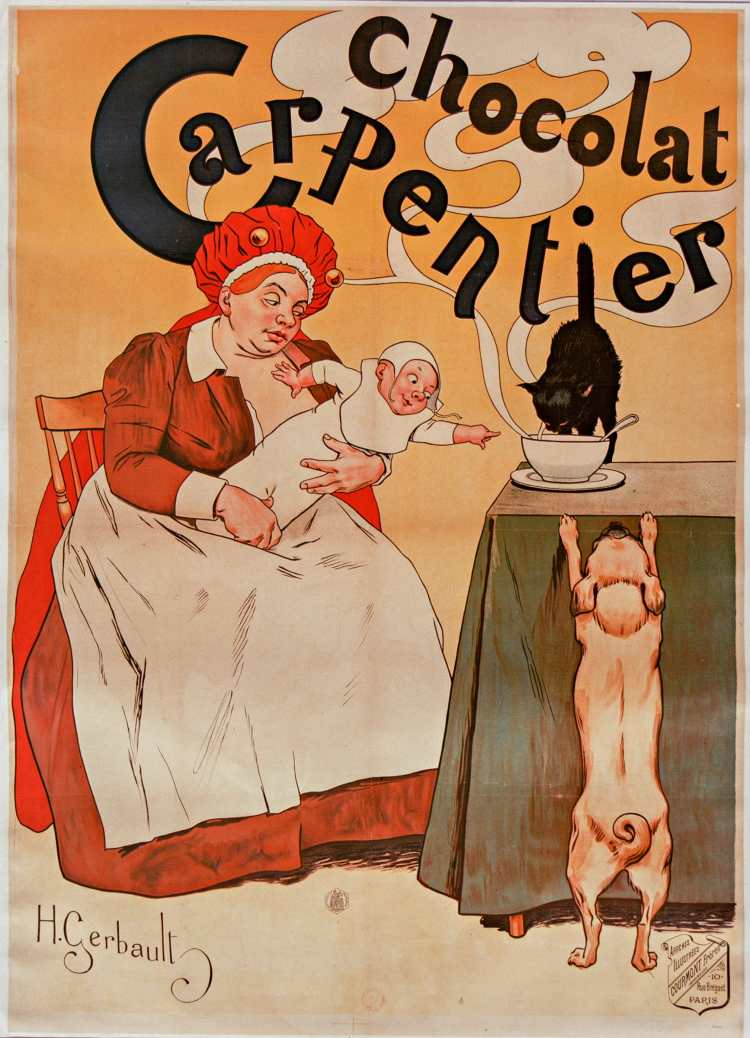 Titre :      Chocolat Carpentier : [affiche] / H. Gerbault  Auteur :      Gerbault, Henry (1863-1930). Illustrateur  Éditeur :      [s.n.][s.n.]  Éditeur :      Affiches illustrées Courmont frères imprimeurs (Paris)  Date d'édition :      1895  Sujet :      Carpentier (marque de chocolat)  Sujet :      Alimentation  Sujet :      Boissons  Type :      image fixe  Type :      estampe  Format :      1 est. : lithographie, coul. ; 130 x 95 cm  Format :      image/jpeg  Format :      Nombre total de vues : 1  Description :      Affiche  Droits :      domaine public  Identifiant :      ark:/12148/btv1b9005573g  Source :      Bibliothèque nationale de France, ENT DO-1 (GERBAULT,Henry)-ROUL  Notice du catalogue :      http://catalogue.bnf.fr/ark:/12148/cb402725004  Provenance :      Bibliothèque nationale de France  Date de mise en ligne :      07/03/2011