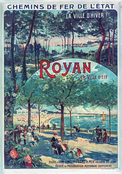Titre : Chemins de fer de l'Etat... Royan... : [affiche] / Louis Tauzin Auteur : Tauzin, Louis (1842-1915). Peintre du modèle Éditeur : [s.n.] Éditeur : Imp. F. Champenois (Paris) Date d'édition : 1911 Sujet : Chemins de fer Sujet : Royan (Charente-Maritime) Sujet : Chemins de fer de l'Etat (France) Sujet : Tourisme Sujet : Transports et communications Sujet : Transports ferroviaires Type : image fixe Type : estampe Format : 1 est. : lithographie, coul. ; 1,05 x 0,78 m Format : image/jpeg Format : Nombre total de vues : 1 Description : Collection numérique : Fonds régional : Poitou-Charentes Description : Affiche Droits : domaine public Identifiant : ark:/12148/btv1b9007933z Source : Bibliothèque nationale de France, ENT DN-1 (TAUZIN,Louis)-FT6 Notice du catalogue : http://catalogue.bnf.fr/ark:/12148/cb40273161g Provenance : Bibliothèque nationale de France Date de mise en ligne : 09/05/2011