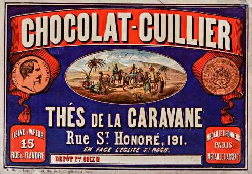 Titre : Chocolat-Guillier. Thés de la caravane... : [affiche] / [non identifié] Éditeur : [s.n.][s.n.] Éditeur : [L. Mielle imp lith] ([Paris]) Date d'édition : 1867 Sujet : Alimentation Type : image fixe Type : estampe Langue : français Format : 1 est. : lithogr. en coul. ; 66 x 97 cm Format : image/jpeg Format : Nombre total de vues : 1 Description : Affiche Droits : domaine public Identifiant : ark:/12148/btv1b90144340 Source : Bibliothèque nationale de France, département Estampes et photographie, ENT DN-1 (MIELLE)-FT6 Notice du catalogue : http://catalogue.bnf.fr/ark:/12148/cb398397492 Provenance : Bibliothèque nationale de France Date de mise en ligne : 30/04/2011