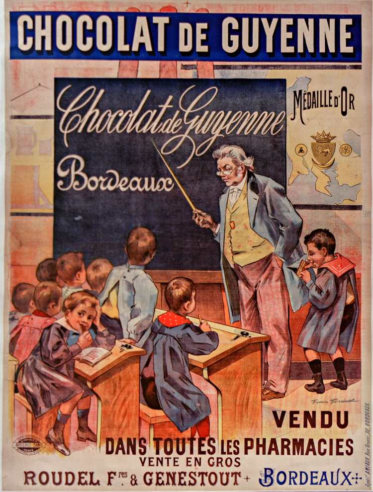 Titre :      Chocolat de Guyenne... vendu dans toutes les pharmacies... : [affiche] / [Firmin Bouisset]  Auteur :      Bouisset, Firmin (1859-1925). Illustrateur  Éditeur :      [s.n.][s.n.]  Éditeur :      [Affiches Camis] ([Paris])  Date d'édition :      1896  Sujet :      Alimentation  Type :      image fixe  Type :      estampe  Langue :      français  Format :      1 est. : lithogr. en coul. ; 130 x 100 cm  Format :      image/jpeg  Format :      Nombre total de vues : 1  Description :      Affiche  Droits :      domaine public  Identifiant :      ark:/12148/btv1b9014483g  Source :      Bibliothèque nationale de France, ENT DN-1 (BOUISSET,Firmin/3)-ROUL  Notice du catalogue :      http://catalogue.bnf.fr/ark:/12148/cb398354498  Provenance :      Bibliothèque nationale de France  Date de mise en ligne :      30/04/2011