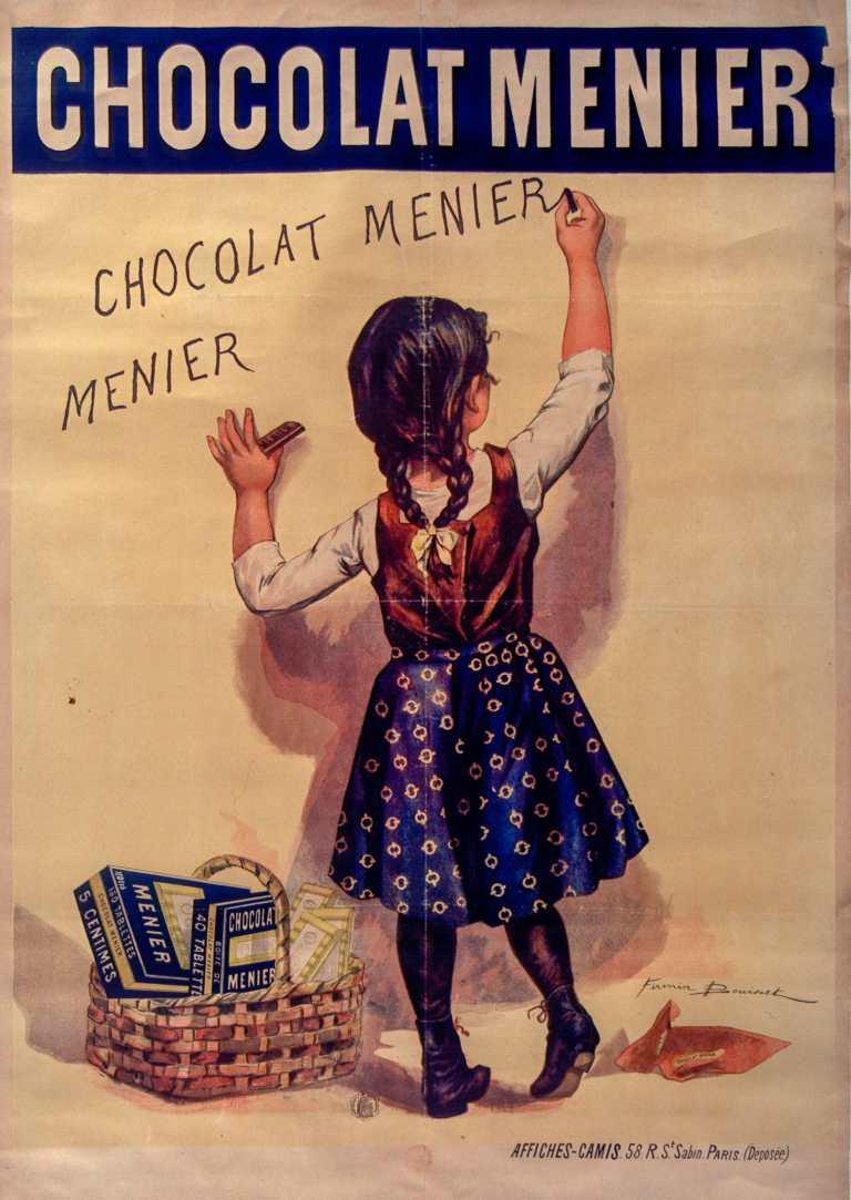 Titre :      Chocolat Menier [fillette écrivant sur un mur] : [affiche] ([Variante d'image : sans parapluie]) / [Firmin Bouisset]  Auteur :      Bouisset, Firmin (1859-1925). Illustrateur  Éditeur :      [s.n.][s.n.]  Éditeur :      [impr. Camis] ([Paris])  Date d'édition :      1895  Sujet :      Chocolat Menier -- Publicité  Sujet :      Alimentation  Type :      image fixe  Type :      estampe  Langue :      français  Format :      1 est. : lithogr. en coul. ; 131 x 92 cm  Format :      image/jpeg  Format :      Nombre total de vues : 1  Description :      Affiche  Droits :      domaine public  Identifiant :      ark:/12148/btv1b90149621  Source :      Bibliothèque nationale de France, ENT DN-1 (BOUISSET,Firmin)-ROUL  Notice du catalogue :      http://catalogue.bnf.fr/ark:/12148/cb422321354  Provenance :      Bibliothèque nationale de France  Date de mise en ligne :      30/04/2011