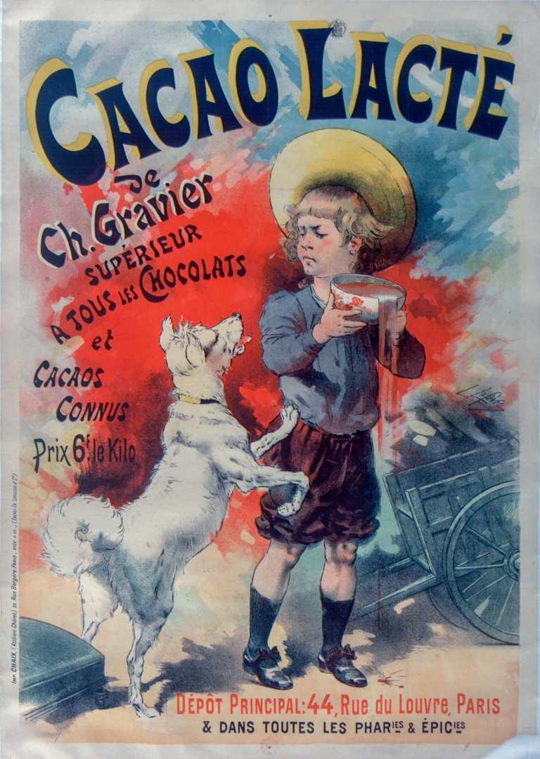 Titre :      Cacao lacté de Ch. Gravier, supérieur à tous les chocolats et cacao connus : [affiche] / L Lefèvre  Auteur :      Lefèvre, Lucien (1850?-1... ; dessinateur). Illustrateur  Éditeur :      [s.n.][s.n.]  Éditeur :      Imp. Chaix (Ateliers Cheret) (Paris)  Date d'édition :      1890  Sujet :      Chocolat  Sujet :      Alimentation  Type :      image fixe  Type :      estampe  Langue :      français  Format :      1 est. : lithographie, coul. ; 125 x 88 cm  Format :      image/jpeg  Format :      Nombre total de vues : 1  Description :      Affiche  Droits :      domaine public  Identifiant :      ark:/12148/btv1b9016035n  Source :      Bibliothèque nationale de France, ENT DN-1 (LEFEVRE,Lucien/2)-ROUL  Notice d'ensemble :      http://catalogue.bnf.fr/ark:/12148/cb40480240m  Provenance :      Bibliothèque nationale de France  Date de mise en ligne :      09/05/2011
