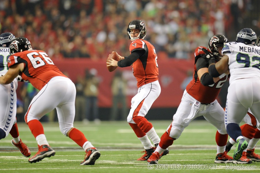 Matt Ryan drops back to pass.