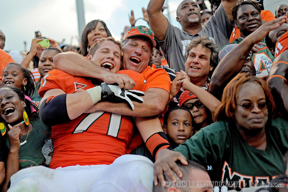 Miami Hurricanes defensive lineman Anthony Chickillo (71) celebrates with fans after beating the Georgia Tech Yellow Jackets 42-36 in overtime at Bobby Dodd Stadium.