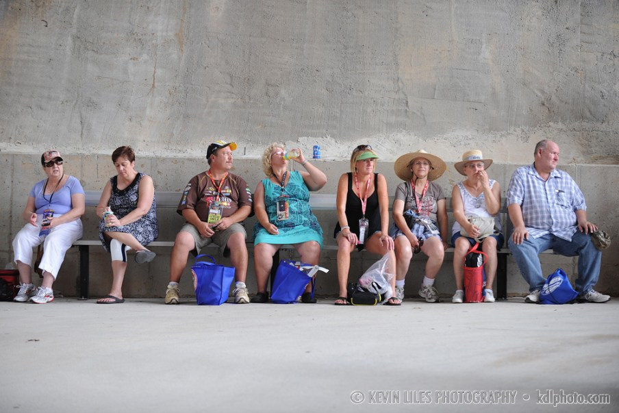 NASCAR fans take a break at Atlanta Motor Speedway.