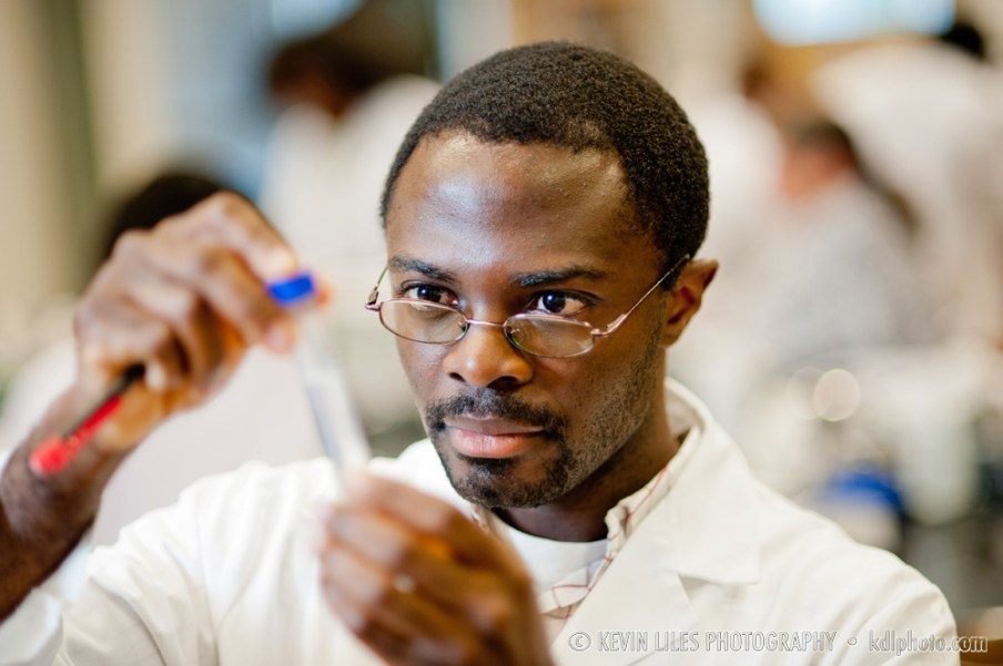Clayton State University student in science class.