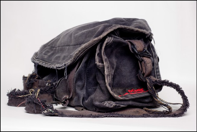 Photo of well worn Domke bag, used by newspaper photojournalist. I miss working at newspapers.