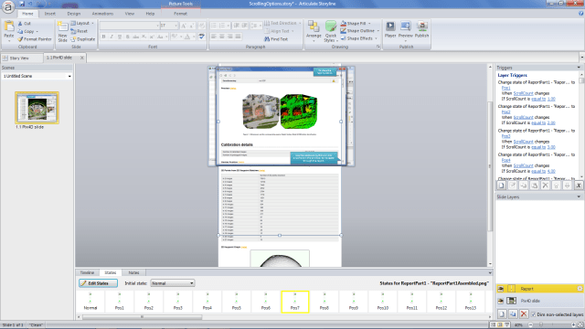 Layer setup for the scrolling window