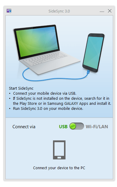 SideSync Connection window