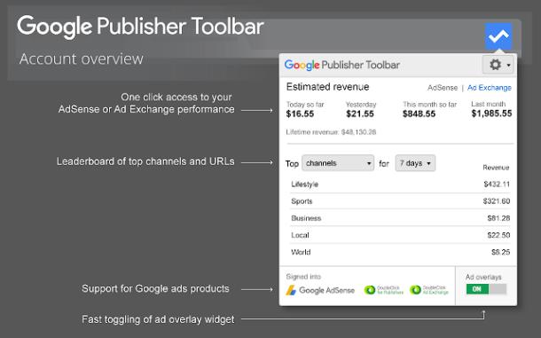 إحصاءات أدسنس من داخل google publisher toolbar