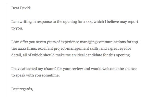 Cover Letter Exle