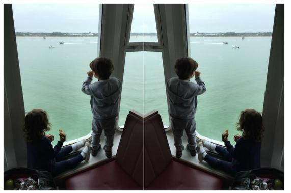 Toddlers looking at the view on Isle of wight