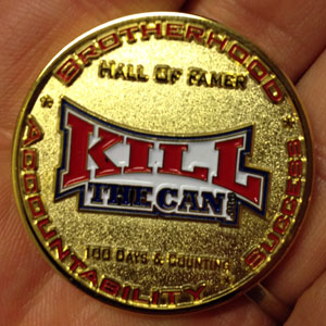 The Gold Version Of The KillTheCan.org Hall Of Fame Coin